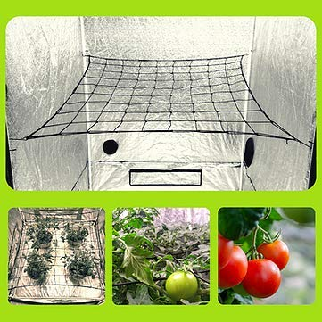 Megaluxx Flexible Elastic Trellis Netting Grow Net  Grow Netting for 4x4 5x5 4x2 Grow Tents Single 4quot Mesh Net