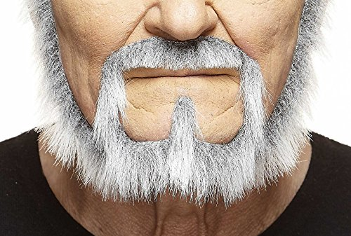 Mustaches Self Adhesive, Novelty, Squatter Fake Beard for Adults, False Facial Hair, Gray with White Color