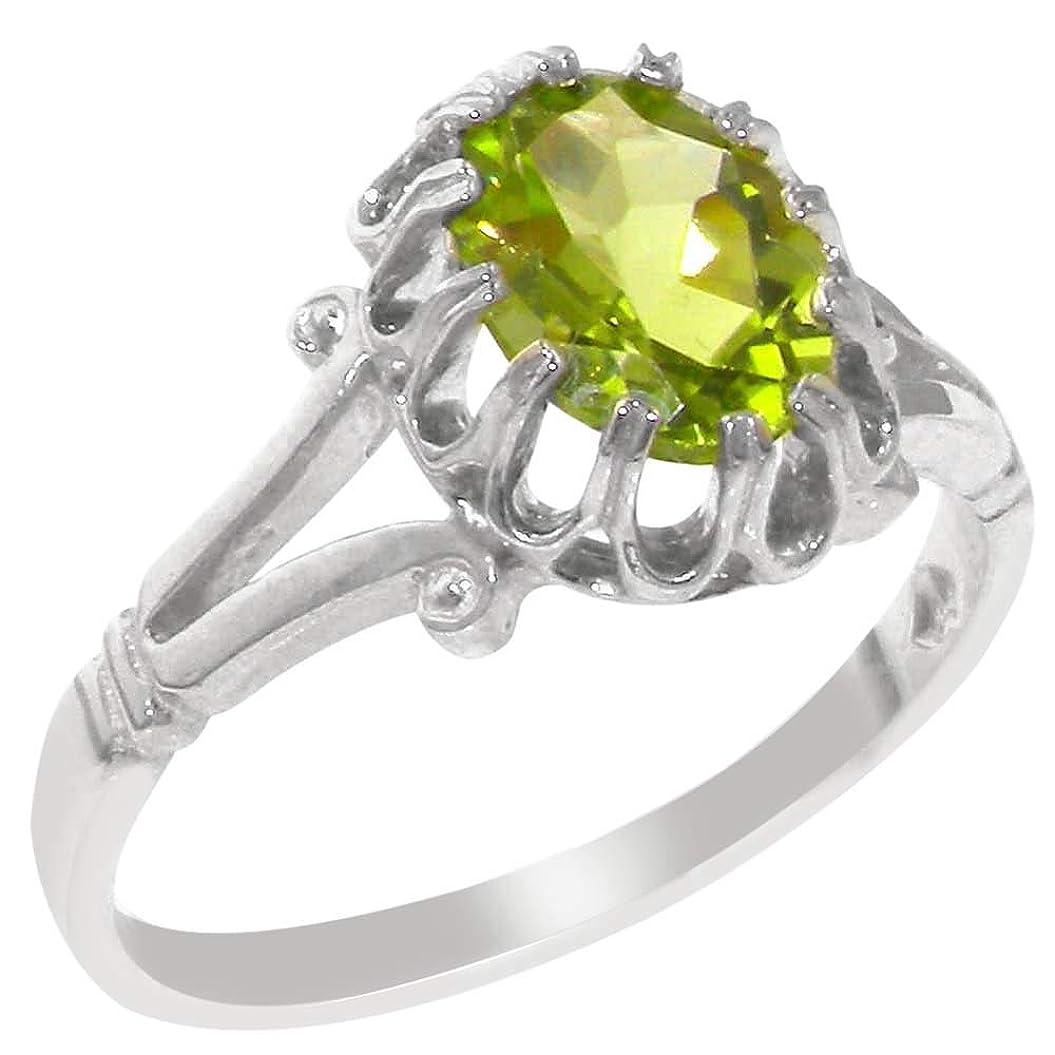 怖がって死ぬ一般立法英国製(イギリス製) K9 ホワイトゴールド 天然 ペリドット レディースソリティア リング 指輪 各種 サイズ あり