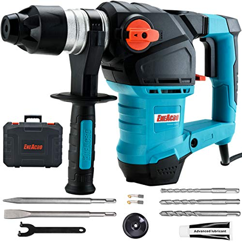 ENEACRO 1-1/4 Inch SDS-Plus 12.5 Amp Heavy Duty Rotary Hammer Drill, Safety Clutch 3 Functions with Vibration Control Including Grease, Chisels and Drill Bits with Case