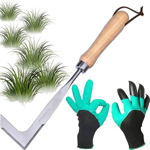cygjing Rascador de malas hierbas de acero inoxidable, con mango, raspador de juntas para jardín, manual, para deshacer, regalo para jardineros