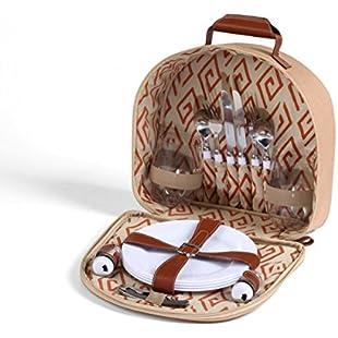 Woodluv Picnic Bag for 2 Includes - Cutlery,Plates,Glasses,Corkscrew, Salt Pepper Set:Ukcustomizer
