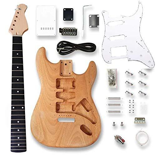 KEPOHK Kit de guitarra St Elctric con todos los accesorios Cuerpo de madera Mástil de arce Golpeador negro Proyecto inacabado Piezas de guitarra Diy