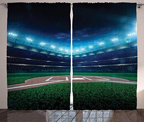 Las Cortinas Opacas de la habitación de los niños están aisladas para Mantener el Calor, Reducir el Ruido y Ayudar a Dormir Campo de béisbol Profesional por la Noche Parque Infantil Vibrante Estadio