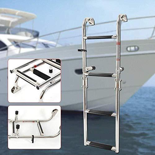 lqgpsx Escalera de Barco telescópica para Piscina de Yates Marinos, escaleras de embarque de Acero Inoxidable Plegables de 4 escalones con Pedal Antideslizante