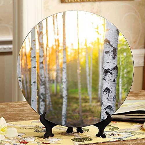 ALALAL Green Birch High quality new Forest in Spring Ceramic Display Plates Plate Today's only