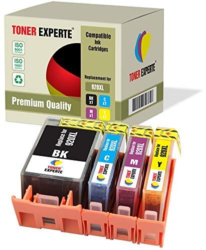 Pack de 4 XL TONER EXPERTE Compatibles con HP 920XL 920 XL Cartuchos de Tinta para HP Officejet 6000, 6500, 6500A, 7000, 7500A (Negro, Cian, Magenta, Negro)