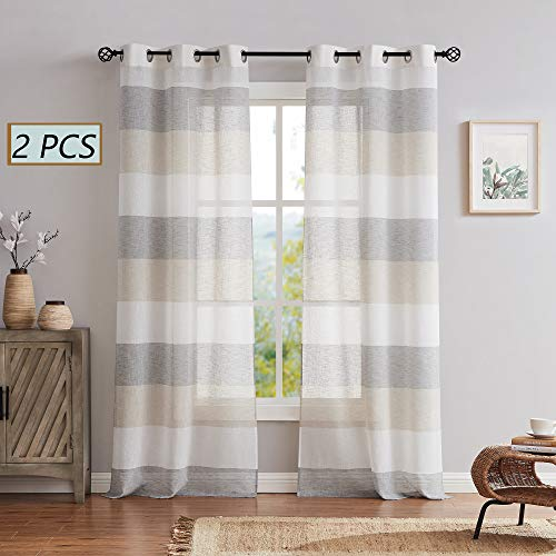 Central Park Gray Tan Stripe Sheer Color Block Window Curtain Panel Linen Window Treatment for Bedroom Living Room Farmhouse 54 inches Long with Grommets, 2 Panel Rustic Drapes