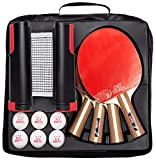IntegraFun Pro Ping Pong Paddle Set with Ping Pong Net- Bracket Clamps,3-star Ping Pong Balls, Storage Case -...