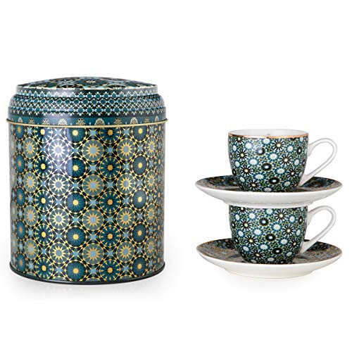 IMAGES D'ORIENT Andalusia Espresso-Set grün-Gold, 2 Espresso-Tassen mit Untersetzer, 90 ml, Porzellan, orientalisches Design mit geometrischen Mustern, inkl. Geschenk-Box aus Blech