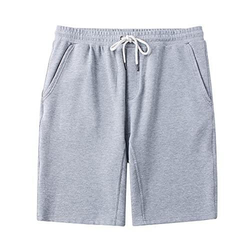 DINOGREY Men's Cotton Shorts Elastic Waist Fleece Shorts Drawstring with Pockets 9' Athletic Workout Gym Sweat Shorts Light Heather Grey