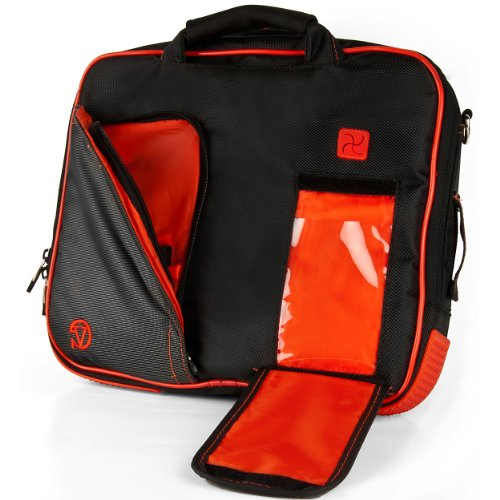 Vangoddy Pindar Messenger Bag (Black/Bright Red) for 10 to 11.6 Inch Tablets and Laptops
