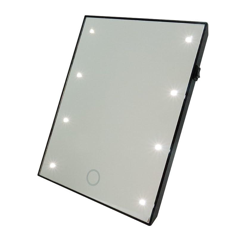 特許シェード不幸ブライトニングミラー タッチS 卓上ラー LEDライト付 女優ミラー 鏡 [白/黒][高さ:22cm 幅:17cm] (白)