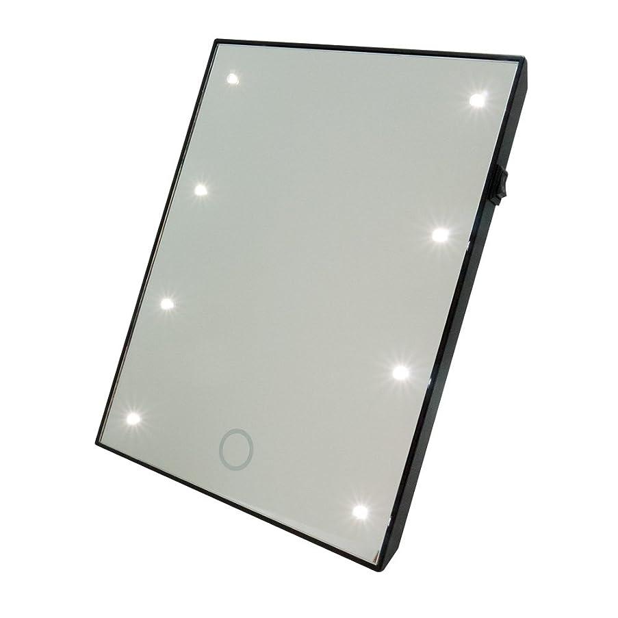 フリッパー肝ダイジェストブライトニングミラー タッチS 卓上ラー LEDライト付 女優ミラー 鏡 [白/黒][高さ:22cm 幅:17cm] (白)