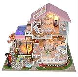 tytlmodel Casa Muñecas En Miniatura Bricolaje,Casa Muñecas Madera Grande Hecha A Mano,Kit Muebles Cocina Jardín Juguete Regalos,para Adornos Navideños para Niños,con Guardapolvo,32 * 21.5 * 23.5Cm