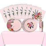 NICROLANDEE - Set di stoviglie usa e getta per 8 ospiti, motivo floreale, bicchieri di carta, tovaglioli di paglia e tovaglia, per matrimoni, spose, donne, pomeriggio, tè, festa della mamma