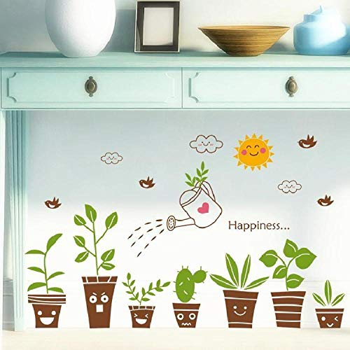 Dekorative Malerei Paste Pflanzenaufkleber Wandaufkleber grüne Blumen und grüne Blätter Wandaufkleber-S Emoji Topf Pflanze_Big