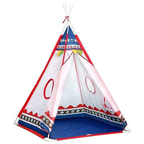 Indianer Tipi Zelt Kinder Indoor Spielzelt fürs Wohnzimmer 4-Eckig (Polyester Blau)