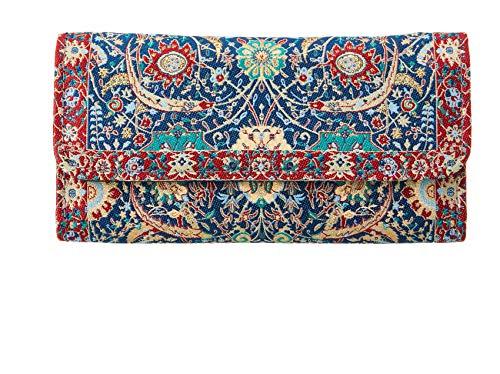 Cartera Billetera Étnica con Monedero Largo Diseño de Alfombras para Mujer Bolso Largo de Mano de Gran Capacidad Portamonedas de Embrague Cartera de Tela (Azul - Roja)