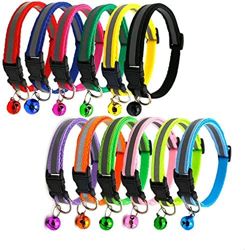 12 Stück Katzenhalsband Reflektierendes Katzenhalsband mit Sicherheitsverschluss und Glöckchen Halsband Katze für Katzen und kleine Hunde,Verstellbar 20–34 cm (B)