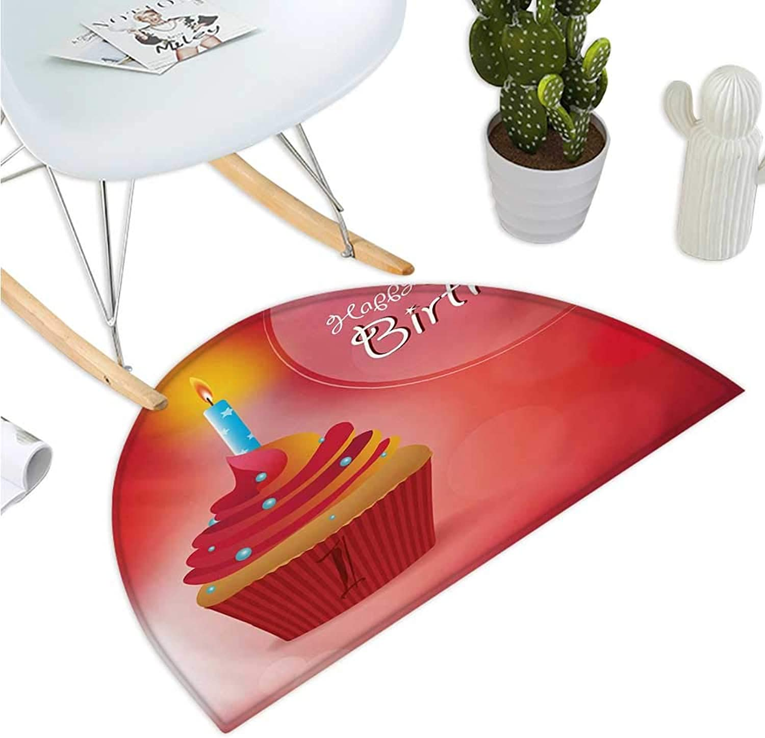 1st Birthday Semicircular Cushion Abstract Background with Sunbeams and Party Cupcake Candlestick Image Halfmoon doormats H 51.1  xD 76.7  orange and Red