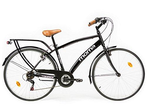 Moma Bikes City Bike - Bicicleta Paseo, Unisex, Adulto, Aluminio, 18 Velocidades, Ruedas de 28', Negro
