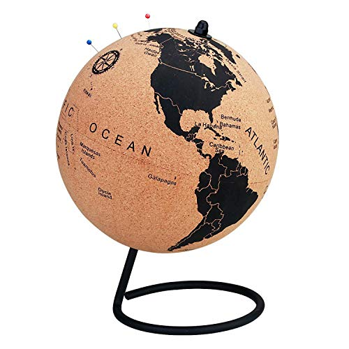 7 Inch Cork Globe with 50 Color Push Pins – Rotatable World Globe Cork – Educational World Map - Durable Stainless Steel Base Easy Spin – Keep Track of Your Travels - Classy Décor for Home Office