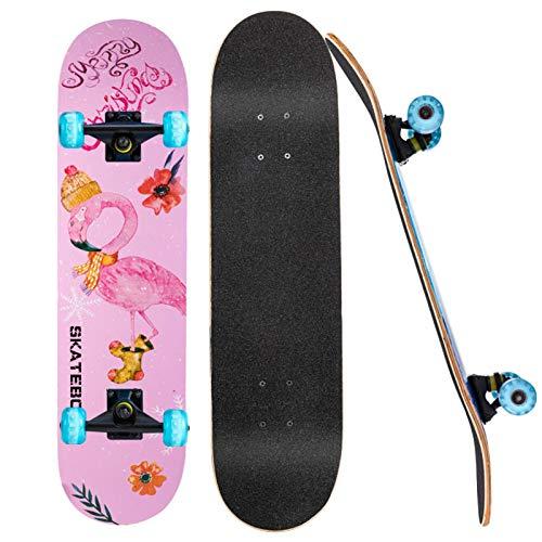 NLRHH Skateboard, 31'Patines completos para niñas Boys Adultos para Adultos, 7 Capas Canadienses Maple Double Kick Deck Concave Skate Boards, C Peng (Size : C)