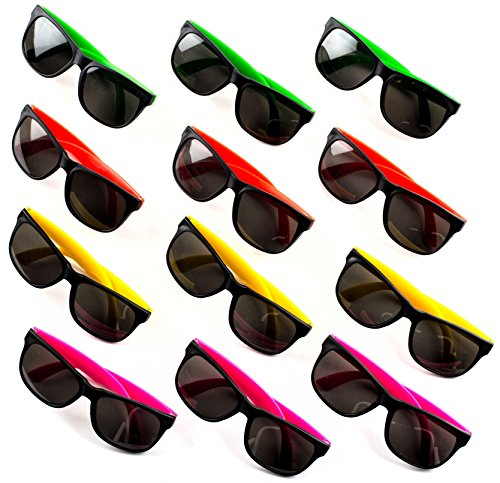 Kids Sunglasses with UV Protection - Party Favors - 24 Pack - Bulk Pool Party Favors, Goody Bag Fillers, Beach Party Favors, Bulk Party Pack of 2 Dozen in 4 Neon Colors