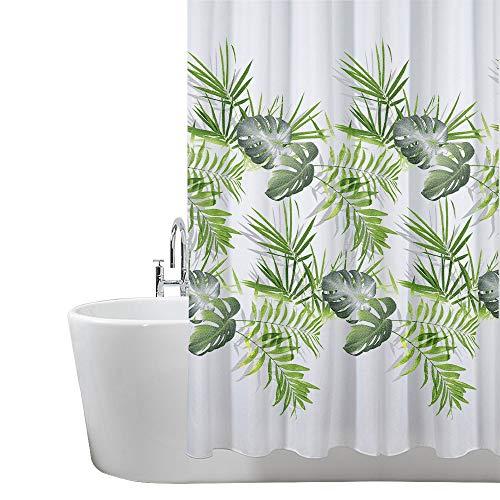 ANSIO Cortina de Ducha Resistente al Moho, 180 x 180 cm, 100% poliéster, diseño de Hojas, Color Verde