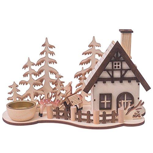 OBC-Kunsthandwerk Räucherhaus Waldhütte mit Teelichthalter, H: 15cm, Natur, gelasert