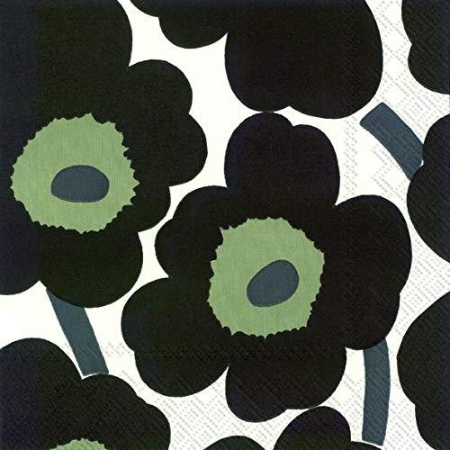 Marimekko Unikko Étui à rabat pour Blanc Noir Big finlandais traditionnel de luxe Motif Lot de 20 serviettes de table papier