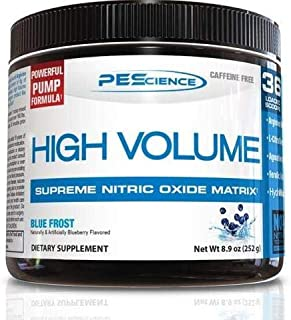 PEScience High Volume Nitric Oxide Booster Pre Workout Powder with L Arginine Nitrate, Blue Frost (Blueberry), 36 Scoops, ...