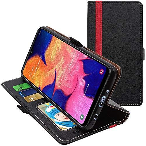 ebestStar - Funda Compatible con Samsung A10 Galaxy SM-A105F Carcasa Cartera Cuero PU, Funda Libro Billetera Ranuras Tarjeta, Función Soporte, Negro/Rojo [A10: 155.6 x 75.6 x 7.9mm, 6.2'']