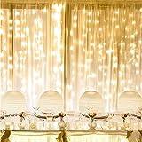 Lepro Luces de Cortina con Enchufe, 6m x 3m 594 LED 8 Modos Luz, Luz Cadena Impermeable Interior y Exterior, Luz de Hadas Blanco Cálido para Decoración Navidad, Fiestas, Bodas, etc