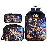 TREES Mochila Escolar para niños Toy Story 4 Set de Mochilas Escolares Mochilas de Estudiante Set de 3 Piezas: Mochilas Escolares con Bolsa de Almuerzo con Aislamiento térmico y Cartuchera,b
