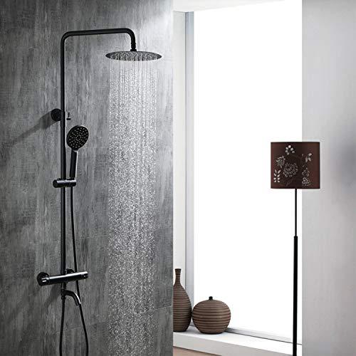 Sistema de ducha con termostato, mezclador circular de ducha de baño montado en la pared con cabezal de ducha tipo lluvia, ducha de mano, riel de pared, ahorro de agua, protección contra escaldaduras