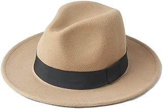 Fedora Cap Men Women Winter Fedora Hat with Black Cloth Belt Wide Brim Jazz Hat Outdoor Homburg Travel Hat Size 56-58CM Felt hat (Color : Khaki, Size : 56-58)