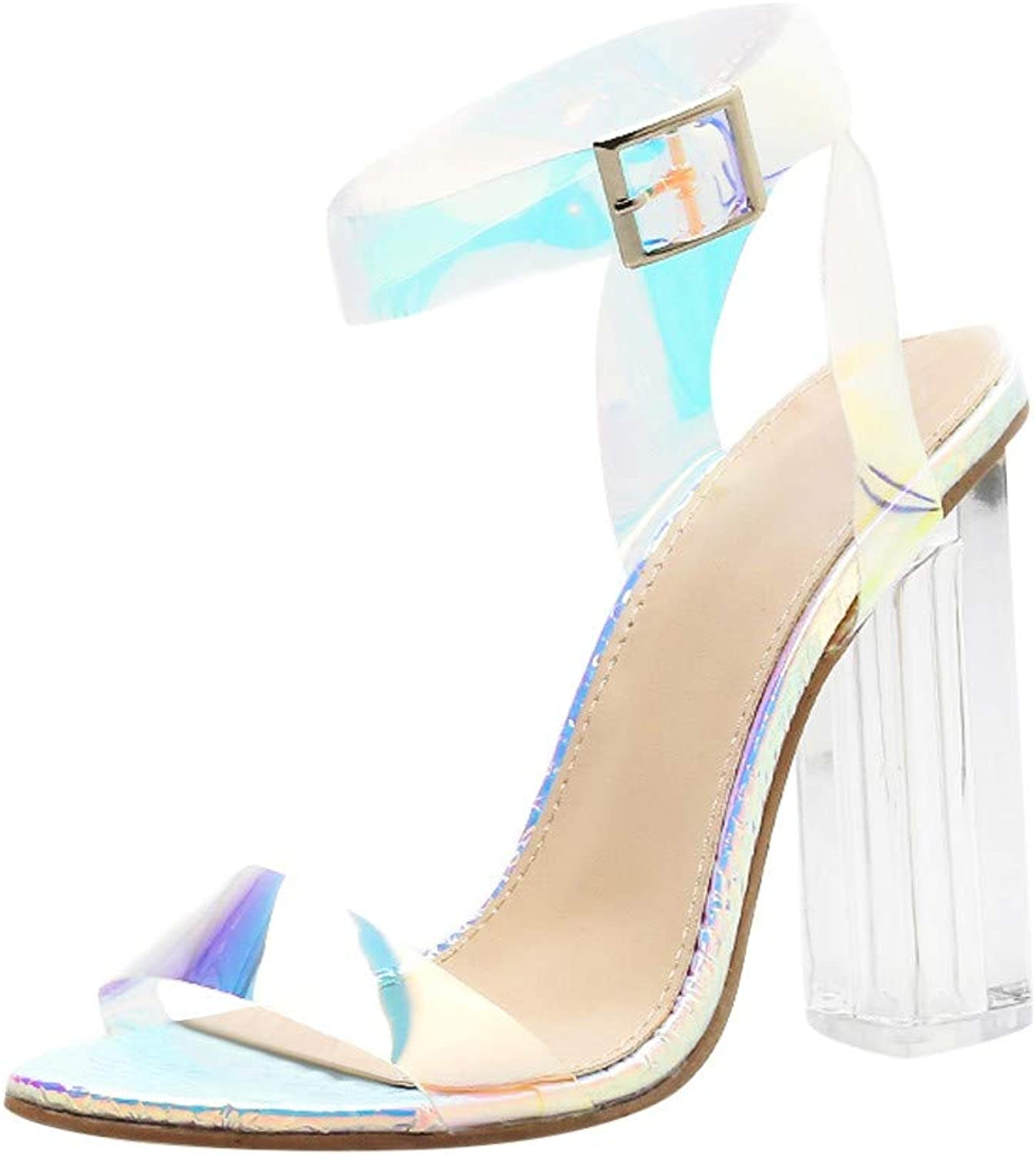 Women Chunky Block Heel Sandal - Ladies Fashion Clear Peep Toe Ankle Strap Buckle Sandals - Prom Club Party Pump shoes