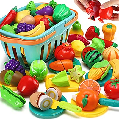70 PCS Cutting Play Food Toy for Kids Kitchen, Pretend Fruit &Vegetables Accessories with Shopping Storage Basket, Plastic Mini Dishes and Knife, Educational Toy for Toddler Children Birthday Gift by LESUTER TOYS