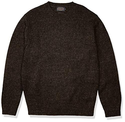 Pendleton Men's Shetland Crew Neck Sweater, Dark Brown Mix, MD