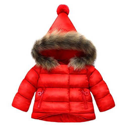 Kobay Kobay Kinder Baby Mädchen Herbst Winter Warme Jacke Mantel Oberbekleidung(6-12M,Rot)