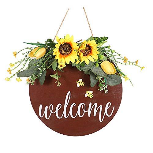 PZMXR Sunflower Wreath Door Wreaths Spring Door Wreath Welcome Door Wreath for The Front Door, Wedding, Home Decor-A#
