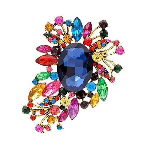 YZMY Broche Cindy Xiang Flor De Cristal Multicolor Broches Grandes para Mujer Ramo De Boda Vintage Broche Broche Joyería De Moda para Abrigo Bolsa-Mezcla