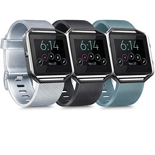 [3 Pack] Silicone Bands Compatible with Fitbit Blaze Bands for Women Men, Replacement Sport Wristband for Fitbit Blaze Smart Fitness Watch, Not Included Blaze and Frame (Large, Silver, Black, Slate)