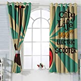 hengshu Vintage Grommet Curtains for Bedroom Segway Electric Scooter Icon on Foreground of Pop Art Style Stripe Urban Transport for Backdrop Curtain W52 x L95 Inch Multicolor