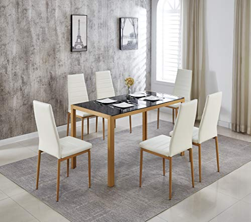 Hanway Dining Table Set for 6 – Mid-Century Dining Set – Luxurious Design – Dining Room Table with Black Glass Top – Comfortable White Faux Leather Chairs – 7-Piece Dining Set