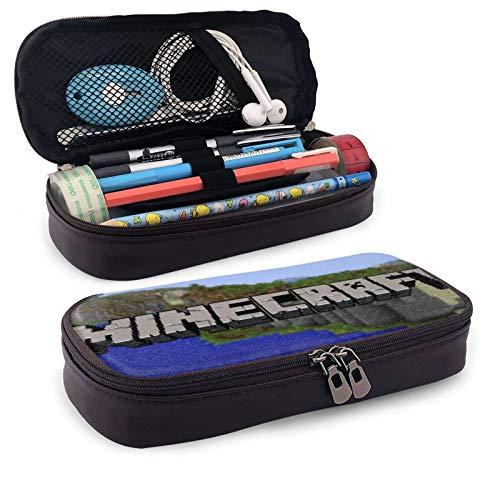 Mi-Necraft Federmäppchen aus PU-Leder für Make-up, Stifteetui für Studenten, Schreibwaren mit doppeltem Reißverschluss, große Kapazität, Taschen-Halter für Schule, Büro