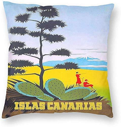 Fundas de almohada reversibles estilo vintage de viaje carteles Islas Canarias decoración del hogar funda de almohada funda de cojín con cremallera sofá funda