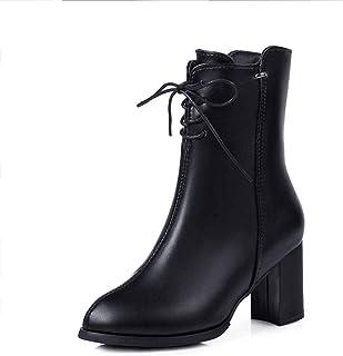 Chelsea dameswinterlaarzen leren schoenen hoge hakken lange laarzen mode casual comfortabel antislip sneeuwlaarzen veterla...